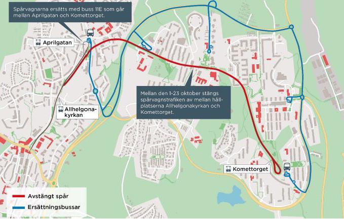 karta över spårvagnslinjer göteborg Buss ersätter spårvagn i Bergsjön | Trafiken.nu Göteborg karta över spårvagnslinjer göteborg